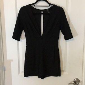 Black Short Sleeve Deep-V Romper